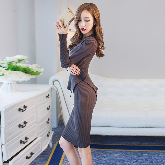 High Quality Sexy Women Sweater And Skirt Set 2016 Irregular Ruffles Tops+tight Skirt Suit Slim Knitted Women's Sets Clothing
