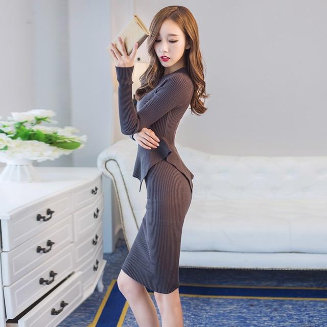 high quality sexy women sweater and skirt set 2016 irregular ruffles