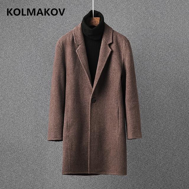 Новый на осень-зиму Для мужчин Шерсть тканевые пальто 2018 Для мужчин s верблюд шерстяные пальто double face теплые кашемировые пальто человек Большие размеры M-3XL