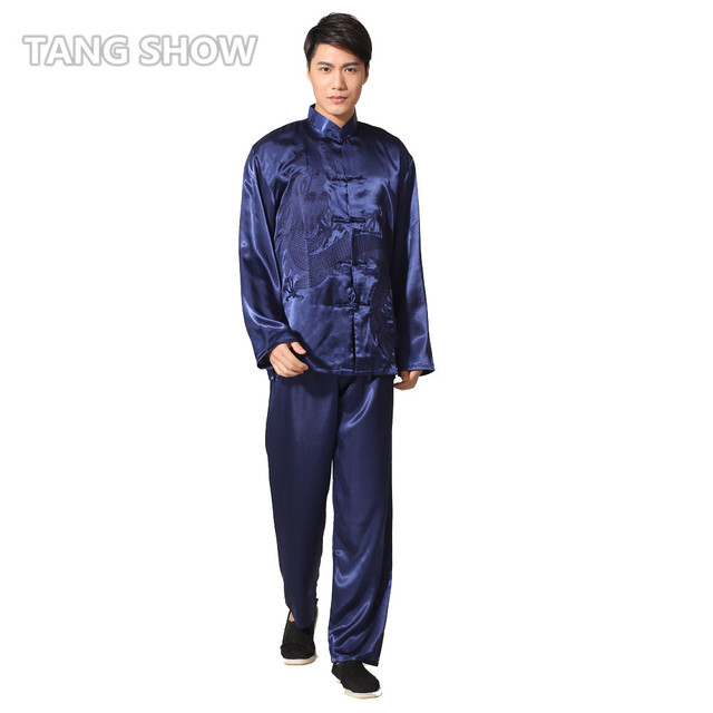 Navy Blue Embroidery Dragon Chinese Men's Rayon Kung Fu Suit Traditional Tai Chi  Uniform Clothing S M L XL XXL M051