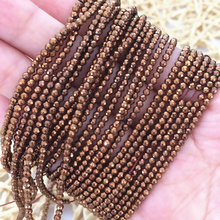 gold-color natural hematite stone 2mm 3mm faceted round spaces accessories beads diy jewelry making 15inch B466