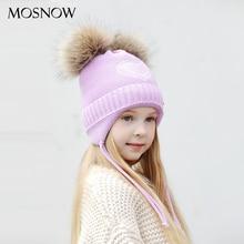 Зимние шапки со стразами в форме сердца для девочек; Плотная хлопковая вязаная шапка с ушками; шапки с помпонами для девочек; детская шапка;# MZ843