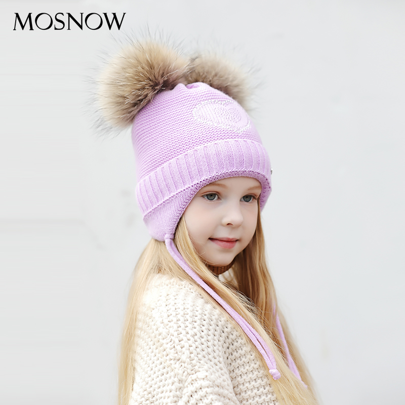 Heart-Shaped Rhinestones Winter Hats For Girls Thick Cotton Knitted Ears Hat Girl Pompom Caps Children   Beanies   #MZ843