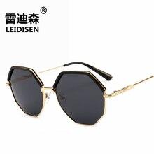 LEIDISEN Polygon Sunglasses Women Men Brand Designer Vintage Sunglasses