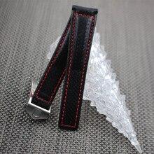 Мужской кожаный ремешок из углеродного волокна 20 мм, 22 мм, ремешок для часов Tag Heuer, ремешок для мужчин с Т-образной пряжкой, черный и красный цвета, ремешок для Carrera