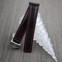 20mm 22mm Carbon Fiber Leather Strap Men for Tag Heuer Watch Band Strap Deployment Buckle Black Red Stitch for Carrera Belt