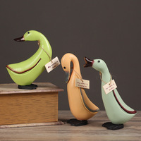 3 Piece Nordic Wood Carving Crafts Rural Duck Pastoral Style Decorative Ornaments Animal Decorations
