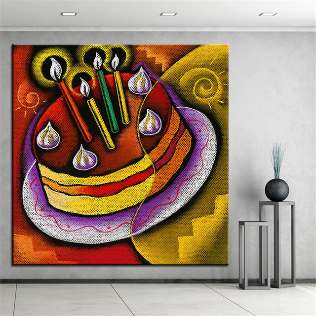 Large size Printing Oil Painting birthday cake painting Home