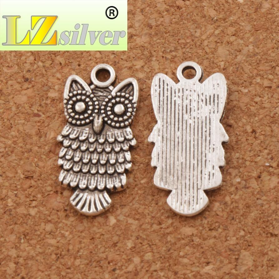Big Owl Luchy bird Charm Beads 25.3x12.5mm 29pcs Antique Silver Pendants Spacer Jewelry DIY L1597