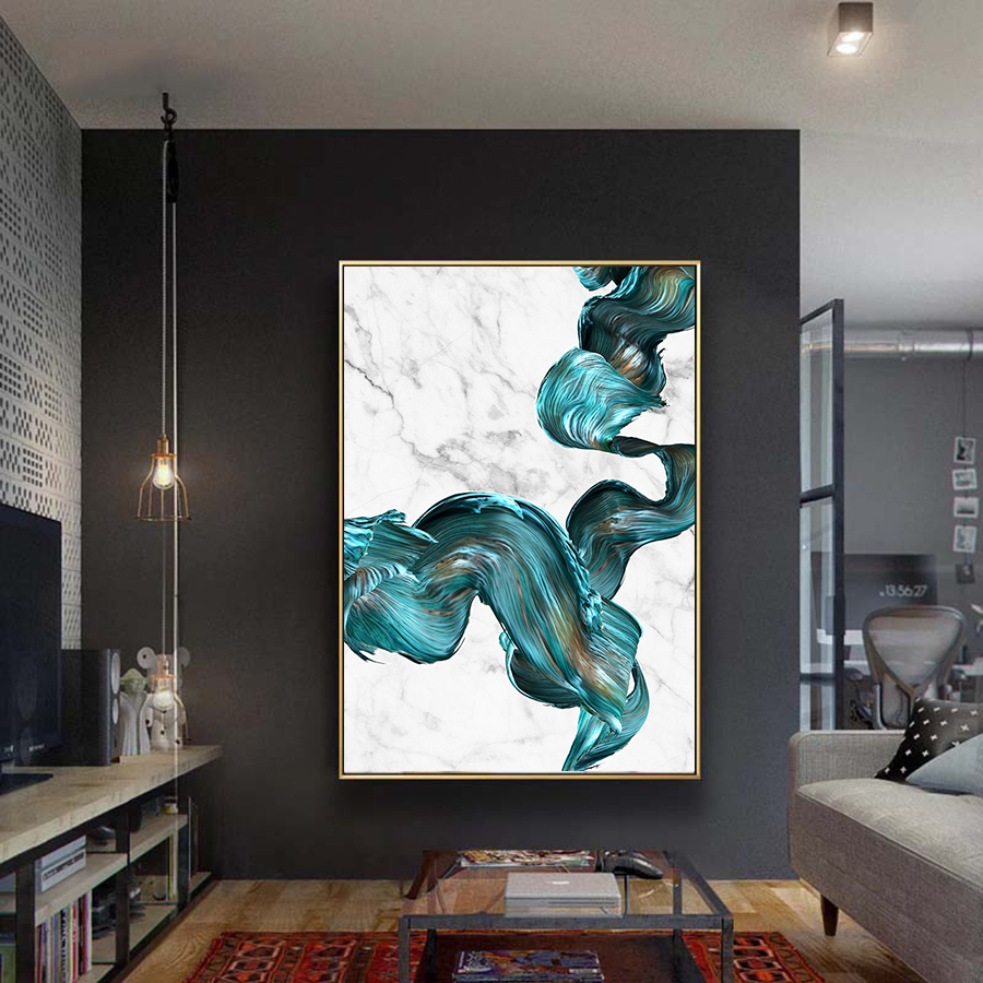 4 - Cuadro Colorful Abstract Pictures Marble Canvas Wall Art Posters and Prints  Modern Fashion Art Paintings Home Wall Decoration
