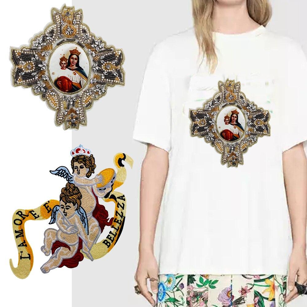 1 unid exquisito bordado Ángel Applique insignia del grano María ...