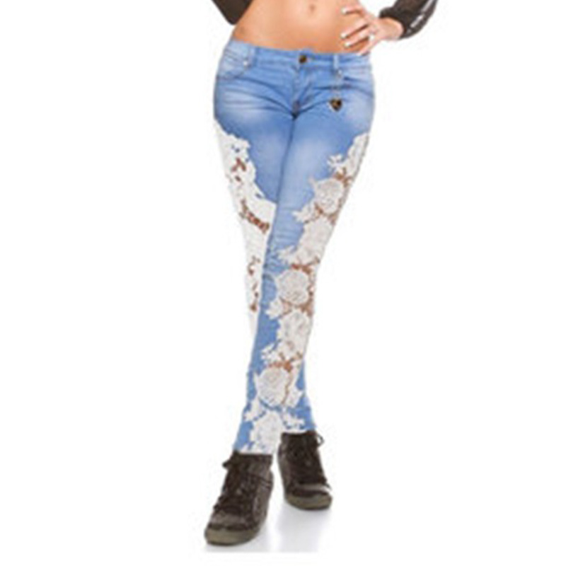 Russia Hot Selling New Style European And American-Style Sexy Lace Porous Lace Jeans Women's