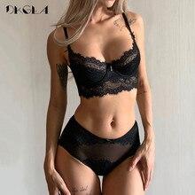 Deep V Sexy Underwear Ultrathin Bra Set Plus Size Brassiere Green Women Lingerie Set Lace Embroidery Transparent Bra Panties Set