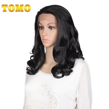 TOMO Synthetic Lace Front Wigs for African American Black Women Long Black Loose Wave Hair