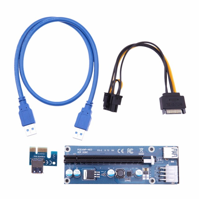 PCI-E PCI E 1x to 16x Mining Machine Enhanced Extender Riser Card Adapter 60cm sata to 8pin Power Cable for Bitcoin BTC