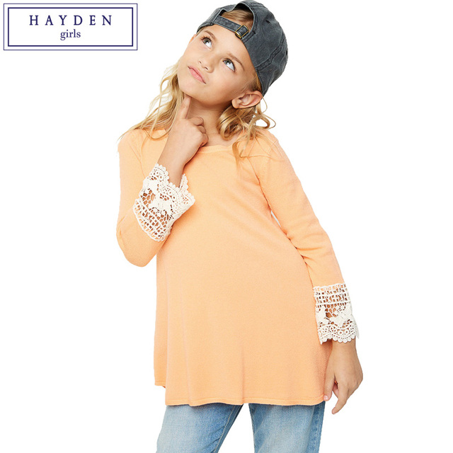 Hayden Girls Knit Tops Spring 2018 Fashion Brand Girl Clothes Long