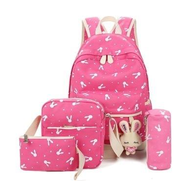 4 Pcs/Set School Bags For Teenagers Girls Schoolbag Large Capacity Ladies Women School Backpack Cute Printing Student Book Bags