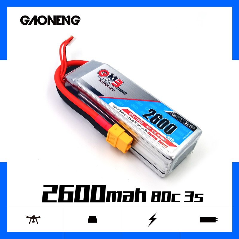 Gaoneng GNB 2600mAh 3S 11.1V 80C/160C Lipo Battery with XT60 Plug For RC Helicopter Quadcopter RC FPV Racing Drone parts image