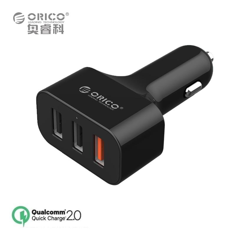 ORICO UCH-2U1Q 3 Ports QC2.0 USB Mini Quick Charger for Car for Phone iPad - Black/White