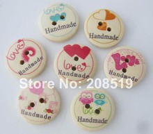 WBNWLV 120pcs Nature wood handemade love buttons 4/5