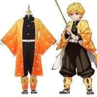 2019 Hot Anime Costume Kimetsu no Yaiba Cosplay Demon Slayer Agatsuma Zenitsu Cosplay Costume Men Kimono Halloween Costume