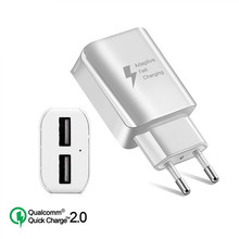Quick Charge 2.0 USB Charger Universal 2 Ports EU/US Plug 5V 2A Fast Charging Adapter For Samsung Xiaomi iPhone Huawei Chargers 10w 5v 2a 4 usb ports us plug pvc power charging adapter for iphone ipad more white