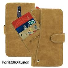 Vintage Leather Wallet ECHO Fusion 6'' Case Flip Luxury Card Slots Cover Magnet Stand Phone Protective Bags vintage leather wallet echo dune 5 case flip luxury card slots cover magnet stand phone protective bags