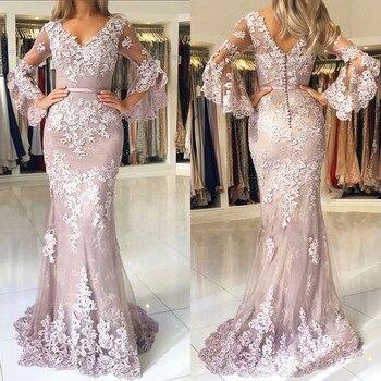 Vestidos formales de mujer Pastel 2019 vestidos de fiesta de sirena de encaje moderno de madre vestidos de manga larga con cuello en V elegantes vestidos de noche