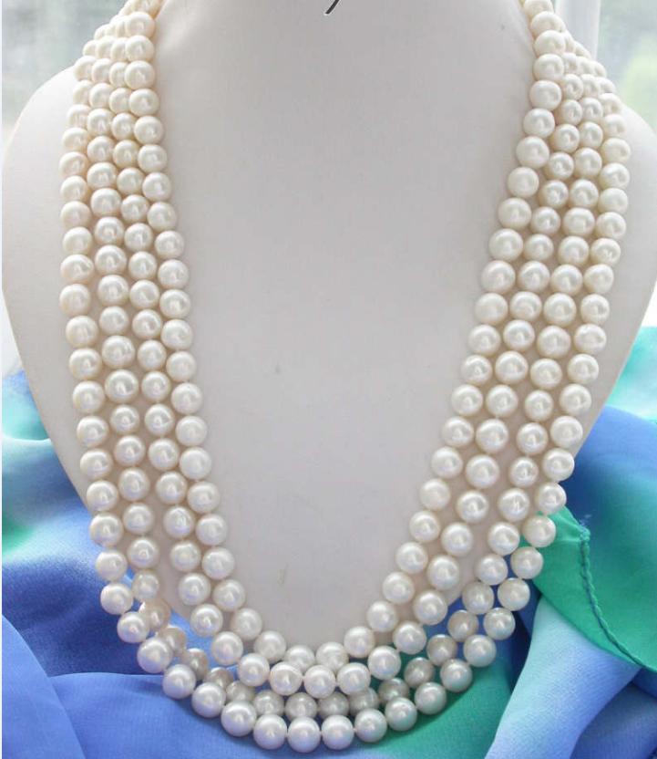Fashion new classic 9-10mm south sea round white pearl necklace 60inch fashion new classic 9 10mm south sea round white pearl necklace 60inch