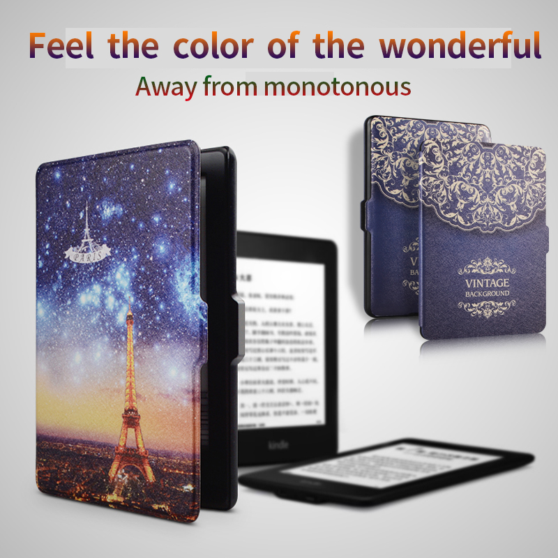 RBP for kindle protective case Smart wake up holster for paperwhite 1/2/3 e-book case for Amazon kindie paperwhite 6 inch cover for amazon kindle paperwhite e book leather case print slim smart ebook cover for kindle paperwhite 3 e reader protective stand