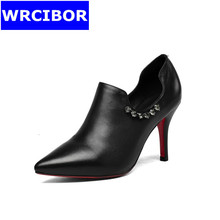 2017 leather womens shoes thin heels fashion High heels shoes for woman platform pointed toe red bottom high heels women pumps