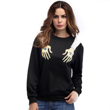 Black Loose Women Sweatshirt Unisex Round Neck Special Hands Printed Cotton hoodies 2017 Autumn Funny Sweatshirt Tops Pullovers