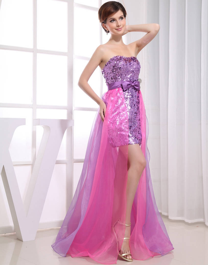 Real Photo 2 Two Piece Prom Dresses Removable Skirt Detachable Sexy ...