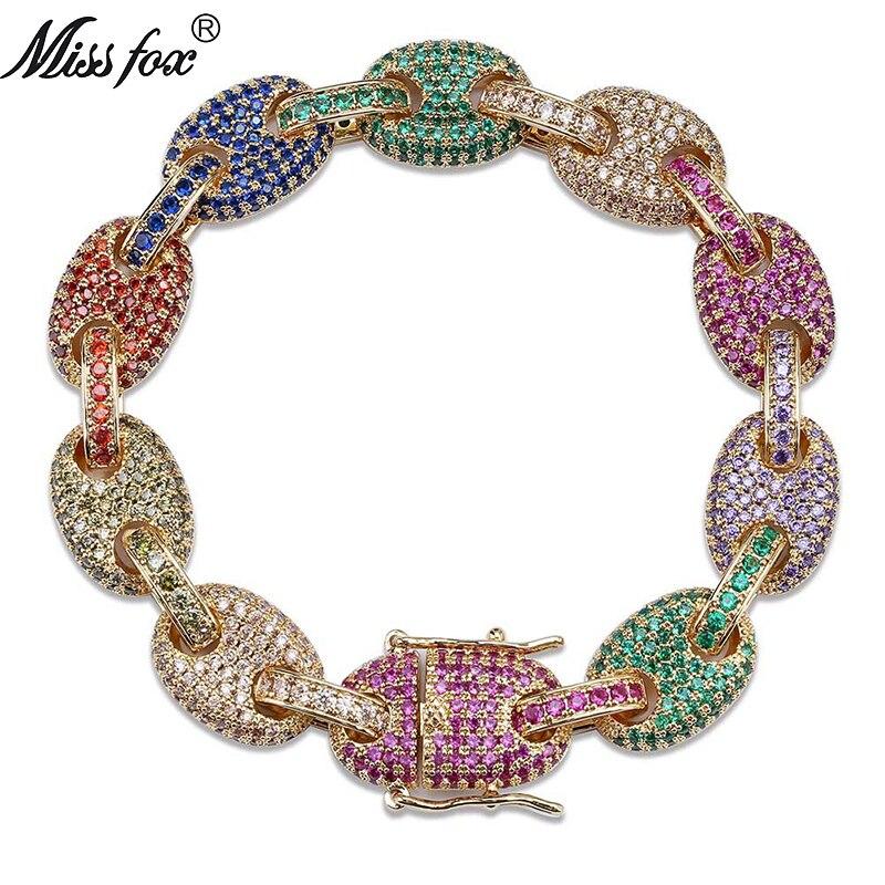MISSFOX hip-hop 12mm Super qualité pur bleu vert rose rouge Cz diamant ovale solide 18k chaîne bijoux fermoir hommes Bracelet en or