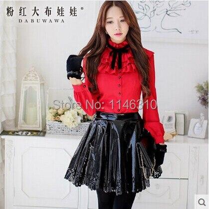 Dabuwawa mujeres ropa  otoño y el invierno rojo delgado de manga larga casual bl