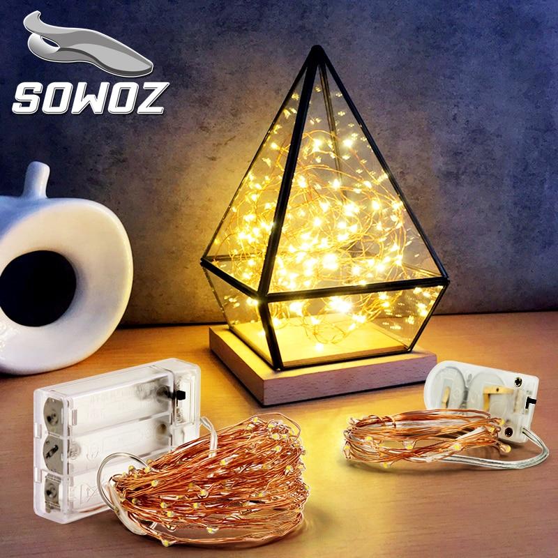SOWOZ 3XAA Batteria 2M10 M 100 LED Luci Della Stringa per Natale Ghirlanda Partito Decorazione di Cerimonia Nuziale Di Natale lampada