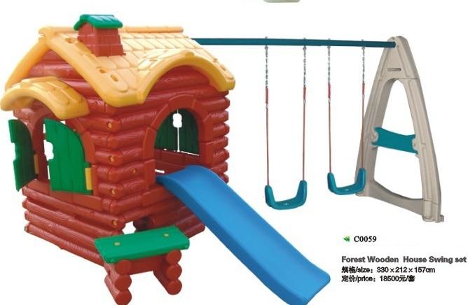 parque infantil al aire libre bosque casa de madera mainland