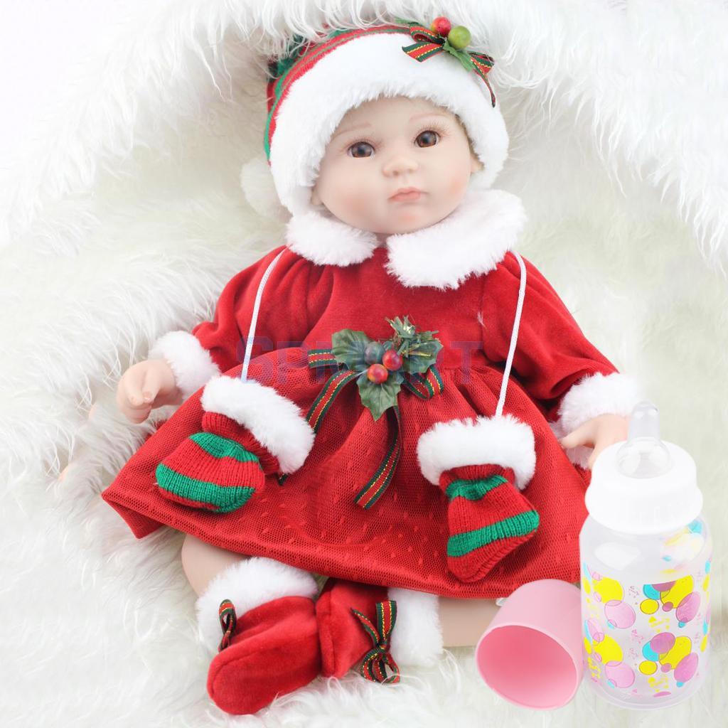 Lovely Christmas Reborn Doll Silicone 16inch Newborn Baby Doll Realistic Toddler Doll Kids Birthday Gift lovely christmas reborn doll silicone 16inch newborn baby doll realistic toddler doll kids birthday gift
