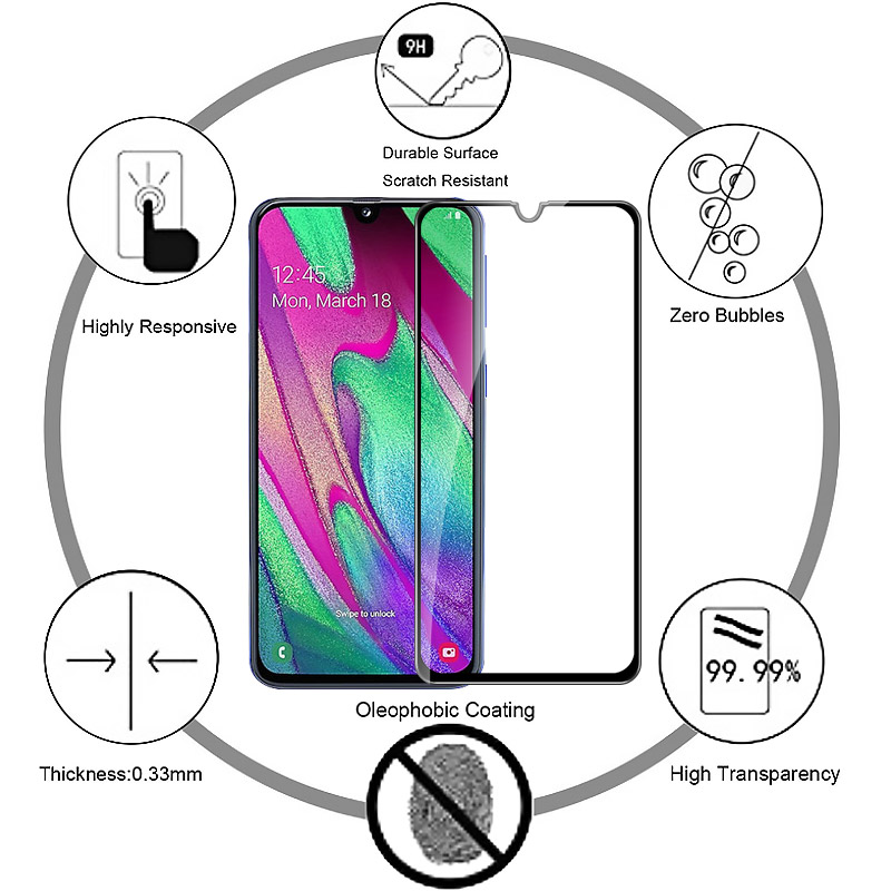 Image 5 - Full Cover Tempered Glass For Samsung Galaxy A20 E A40 M40 M30 M20 M10 Full Cover Screen Protector A20e A 20e 40 M 40 30 20 10-in Phone Screen Protectors from Cellphones & Telecommunications