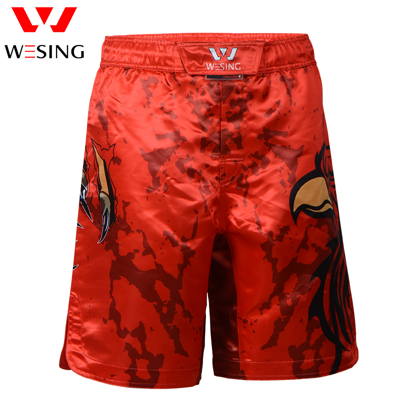 Wesing Muai Thai Shorts Sport Shorts Thrunks Kick Boxing Training Shorts Pants Breathable Boxing Trunks Red Eagle Pattern