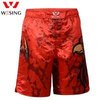 Wesing Thrunks kick Boxeo Muai Tailandés Shorts Deporte Shorts Pantalones Cortos Respirables guantes de Boxeo Troncos Patrón Águila Roja