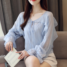 New Brand Women Tops Long sleeve Chiffon shirt