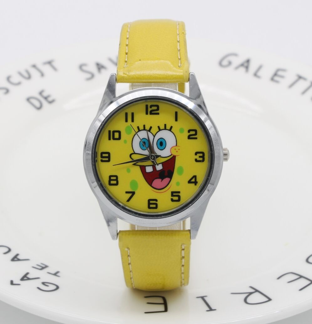 Hot Sale SpongeBob BOYS Cartoon Watch Fashion Lovely Girl Children Watches PU Strap Quartz Wristwatch Kids Dress Clock