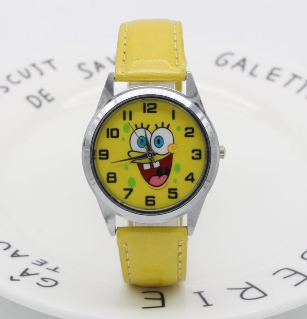 Hot Sale SpongeBob BOYS Cartoon Watch Fashion Lovely Girl Children Watches PU St