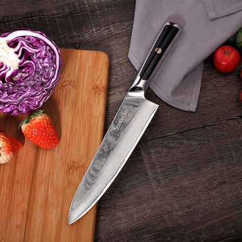 """2018 Sunnecko 8\"""" Chef Damascus Kitchen Knife Japanese VG10 Steel Blade Razor Sharp Exquisite G10 Handle Chef\'s Cooking Knives"""
