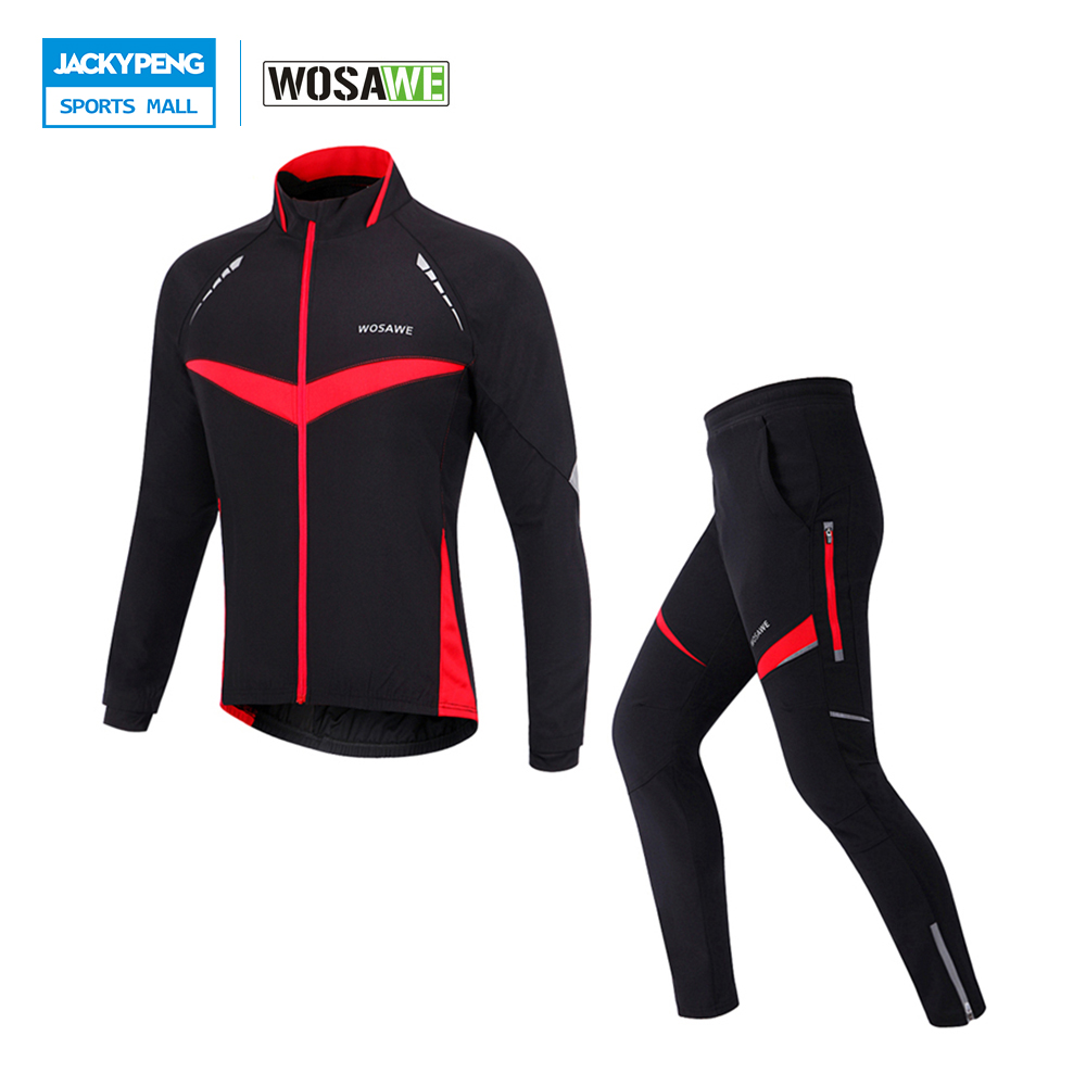WOSAWE Autumn Winter Windproof Sports Cycling Jacket Pants Set 4D Gel Padded Trousers Thermal Ropa Clismo наземный высокий светильник favourite provinz 1820 1f