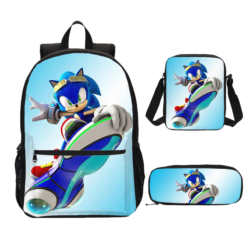 Sonic The Hedgehog Game 3D Print 3pcs/Set Students Backpack Pencil Bag Men Bookbags School Bags For Girls Boys Kids Bagpack image