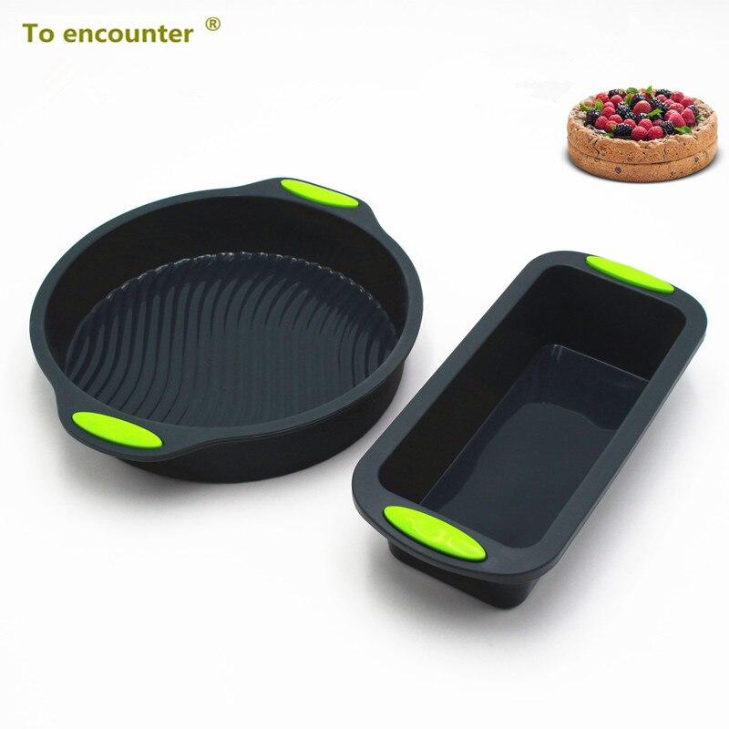 El Encuentro de plaza cuadrada forma redonda para hornear de silicona molde de la torta de pan sartenes pastel platos bandeja 2 en paquete