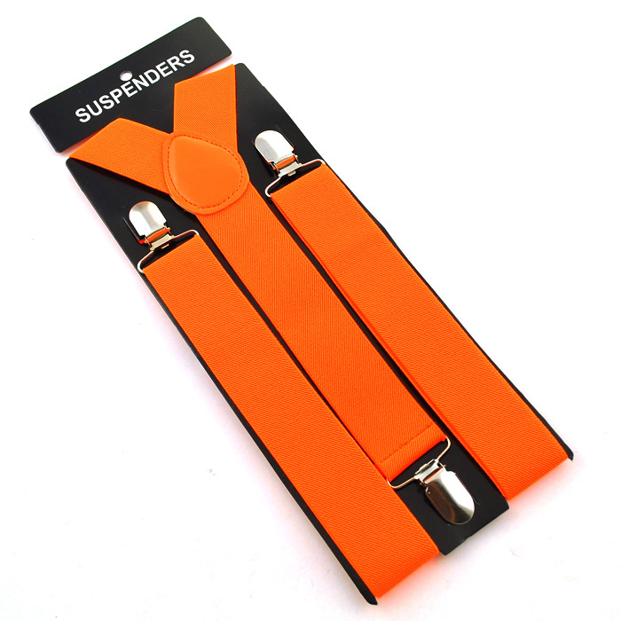 """Горячие Подтяжки для женщин Для мужчин Мужская Clip-On брекеты упругой подвески 3.5 см широкий """"20 однотонные"""" mix Подтяжки для женщин оптом и в розницу - Цвет: Candy Orange"""