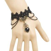 Womens New Lolita Gothic Handmade Bronze Metal Stone Heart Flower Layer Chain Drop Black Lace Bracelet Vintage Retro Accessories